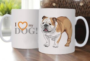 Cup with English Bulldog