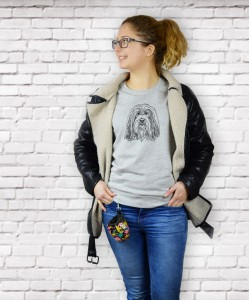 Bluza Bearded Collie portret| Glacier Grey
